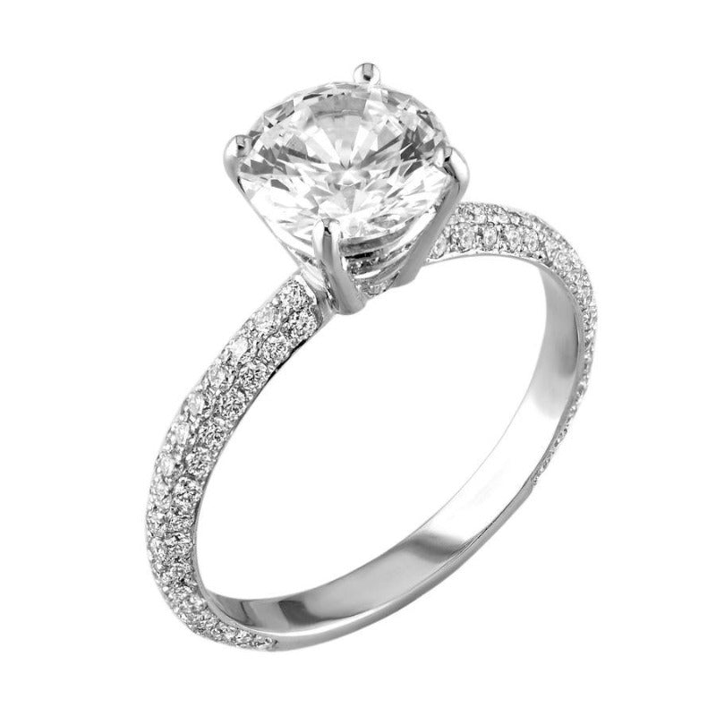 18kt White Gold 3 Row Pave Diamond Engagement Ring