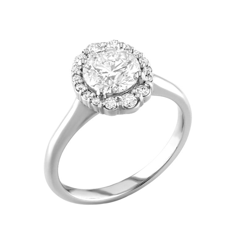 18kt White Gold Oval Diamond Engagement Ring With Halo