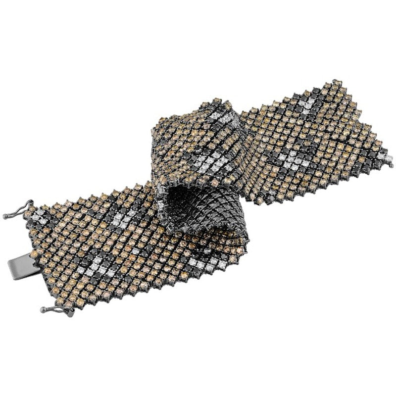 18kt White Gold Leopard Mesh Multi Coloured Diamond Bracelet
