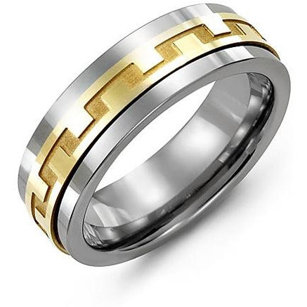 7mm Cobalt 14K Yellow Gold Ring
