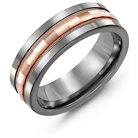7mm Tungsten 14K Pink Gold Ring