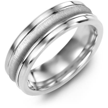 7mm Tungsten 14K White Gold Ring