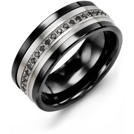 9mm Black Ceramic 14K White Gold Ring 21 Black Diamonds tcw 0.21