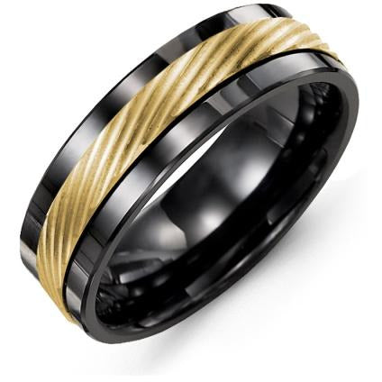 7mm Black Ceramic 14K Yellow Gold Ring