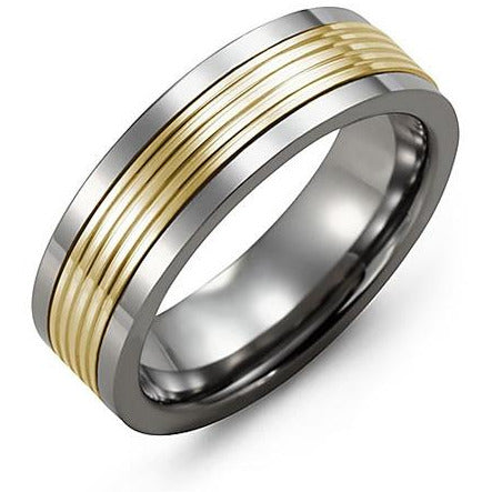 7mm Tungsten 14K Yellow Gold Ring