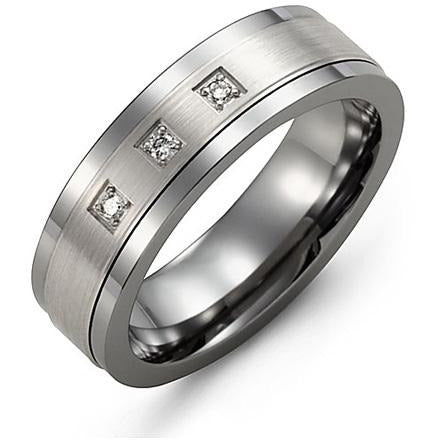 7mm Tungsten 14K White Gold Ring 3 Diamonds tcw 0.06