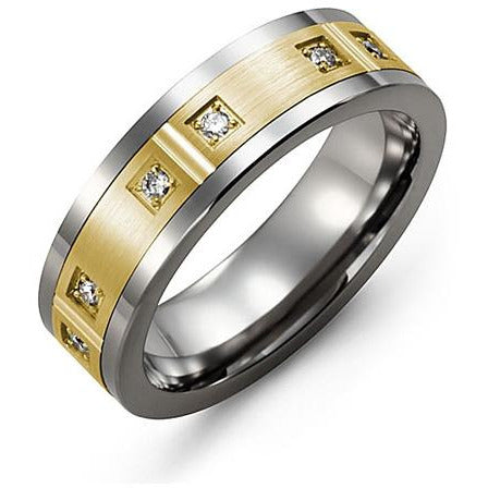 7mm Tungsten 14K Yellow Gold Ring 6 Diamonds tcw 0.12
