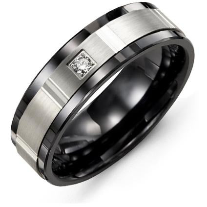 7mm Black Ceramic 14K White Gold Ring 1 Diamond tcw 0.05