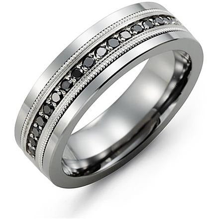 7mm Tungsten 14K White Gold Ring 17 Black Diamonds tcw 0.34