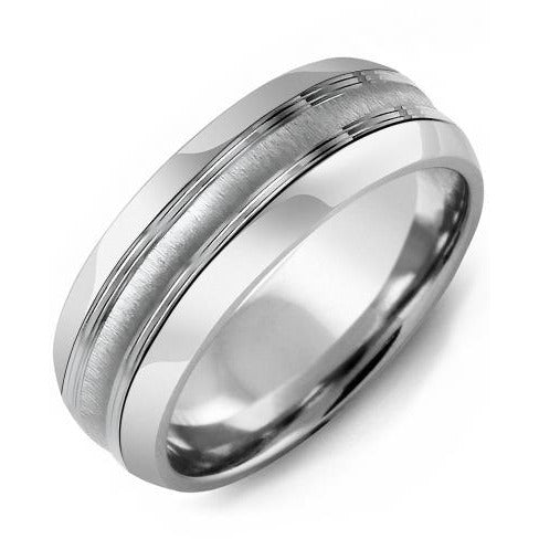 8.5mm Tungsten Tiffany 14K White Gold Ring