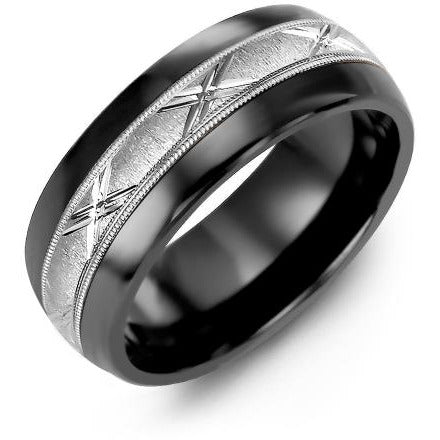 8.5mm Black Ceramic Tiffany 14K White Gold Ring