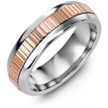 6.5mm Cobalt Tiffany 14K Pink Gold Ring