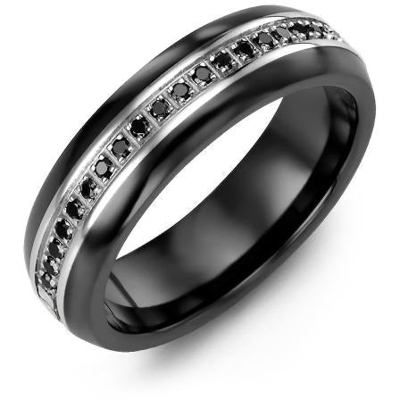 6.5mm Black Ceramic Tiffany 14K White Gold Ring 21 Black Diamonds tcw 0.21