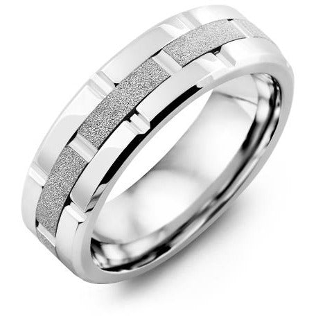 7mm Cobalt Polish Blades 14K White Gold Ring