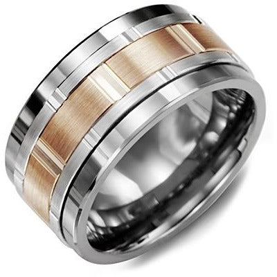 11mm Tungsten 14K White/Pink/White Gold Ring