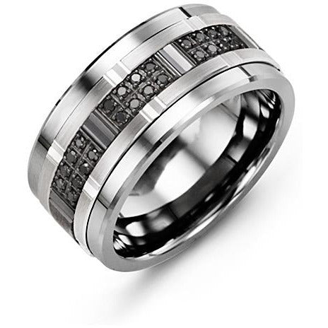 11mm Tungsten 14K White/Black/White Gold Ring 24 Black Diamonds tcw. 0.24
