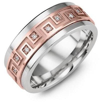 9mm Cobalt 14K Pink Gold Ring 9 Diamonds tcw 0.09