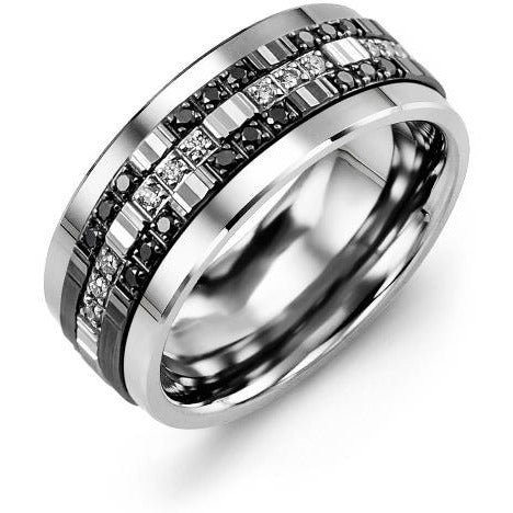 9mm White Gold 14K White/Black/White Gold Ring 30 Diamonds tcw 0.30