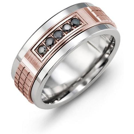 9mm Tungsten 14K Pink Gold Ring 5 Black Diamonds tcw 0.15