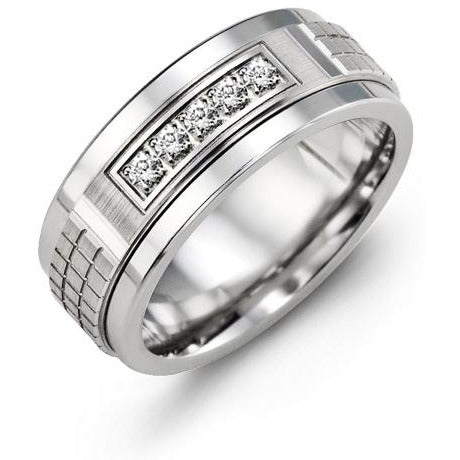 9mm Tungsten 14K White Gold Ring 5 Diamonds tcw 0.15