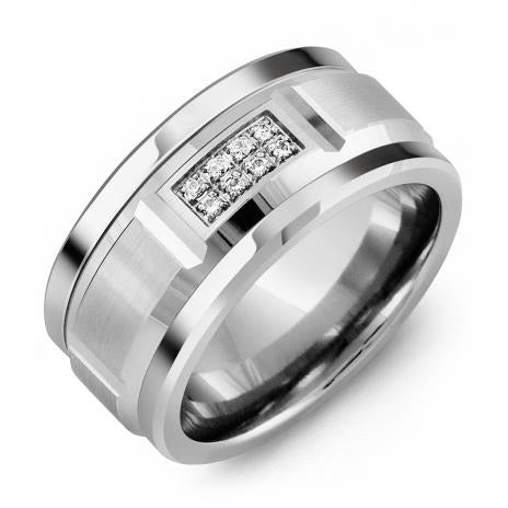 11mm Tungsten 14K White Gold Ring 8 Diamonds tcw 0.08