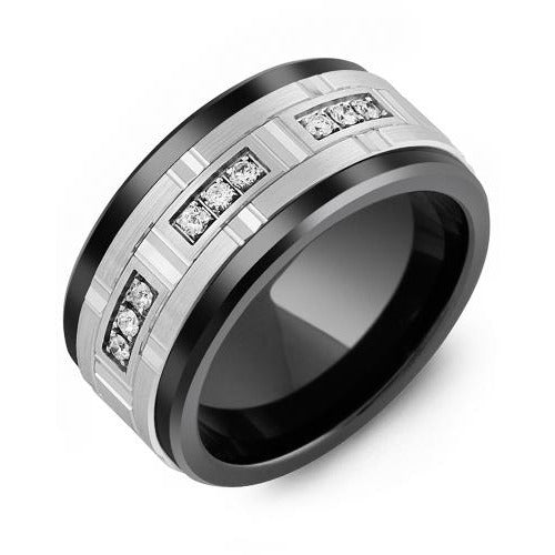 11mm Black Ceramic 14K White Gold Ring 9 Diamonds tcw 0.18