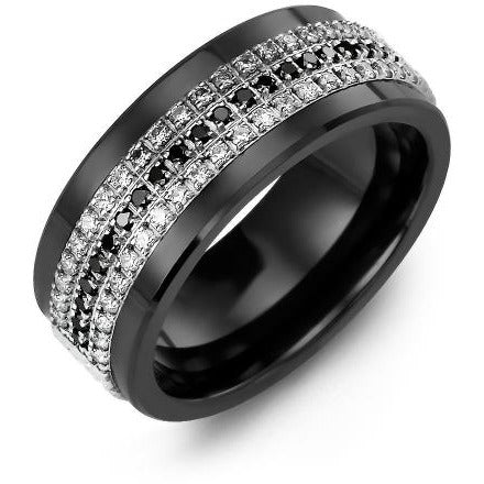 9mm Black Ceramic 14K White Gold Ring 63 Diamonds W/B/W tcw 0.63