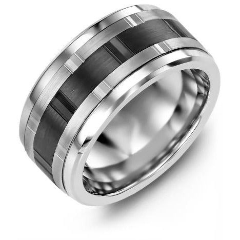 11mm Cobalt 14K White/Black/White Gold Ring