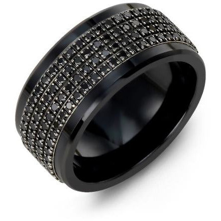 11mm Black Ceramic 14K Black Gold Ring 180 Black Diamonds tcw 1.80