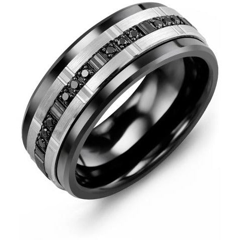 9mm Black Ceramic 14K White/Black/White Gold Ring 12 Black Diamonds tcw 0.12