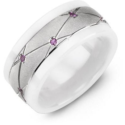 9mm White Ceramic 14K White Gold Ring 14 Pink Sapphire tcw. 0.14