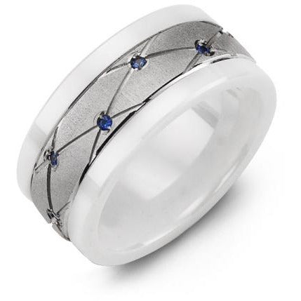 9mm White Ceramic 14K White Gold Ring 14 Blue Sapphire tcw. 0.14