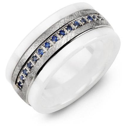 9mm White Ceramic 14K White Gold Ring 15 Blue Sapphire tcw. 0.15