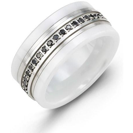 9mm White Ceramic 14K White Gold Ring 21 Black Diamonds tcw 0.21