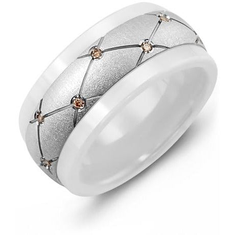 9mm White Ceramic 14K White Gold Ring 14 Chocolate Diamonds tcw 0.14