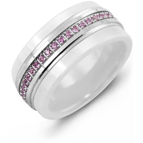 9mm White Ceramic 14K White Gold Ring 45 Pink Sapphire tcw. 0.45