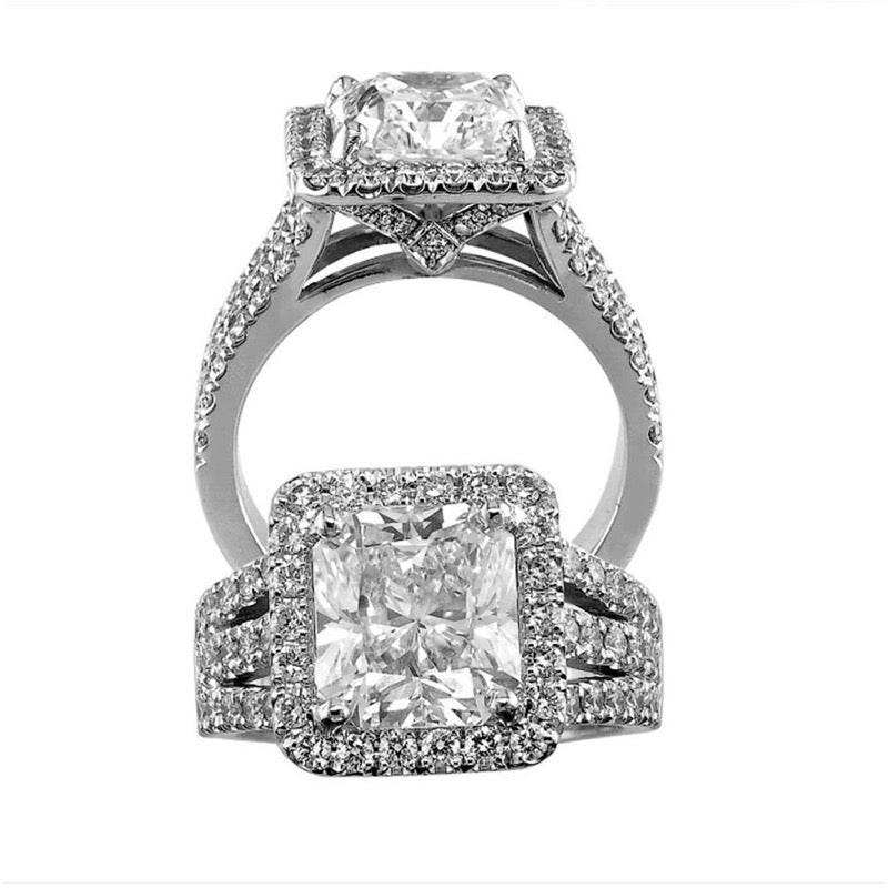18kt White Gold Diamond Radiant Cut Triple Shank Engagement Ring