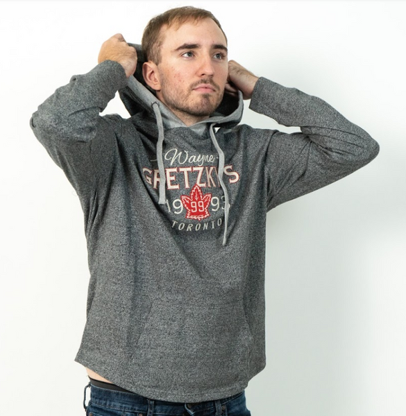 Men's Grey Hoodie with Red Maple Leaf