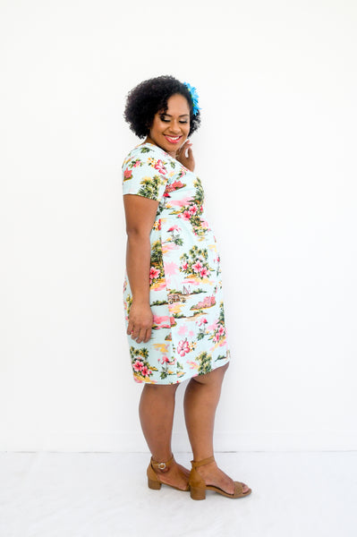 Daisy dress in tropical hawaiian island print - Malia Clothing Fiji - Made in Fiji