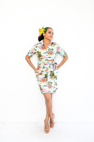 Chrissy dress in tropical hibiscus print - Malia Clothing Fiji - Made in Fiji