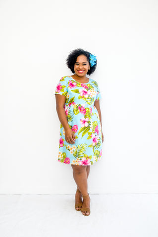 Daisy dress in tropical hibiscus print - Malia Clothing Fiji - Made in Fiji