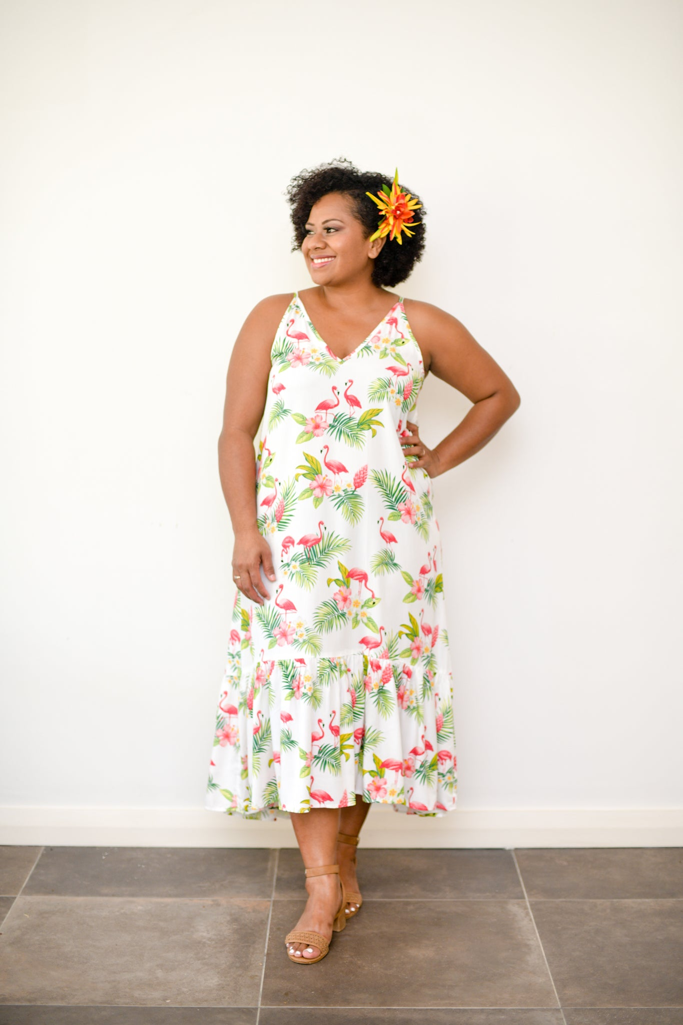 Maxine dress in tropical print - Malia Clothing Fiji - Made in Fiji