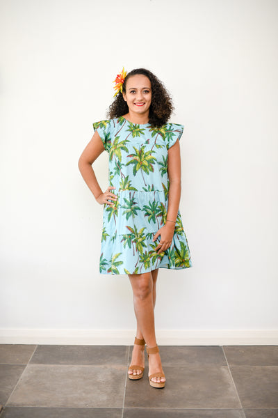 Sandy dress in tropical print - Malia Clothing Fiji - Made in Fiji