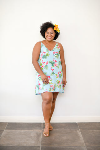Polly Swing Dress - Flamingo Print