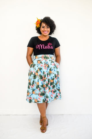 Tea Skirt in tropical print - Malia Clothing Fiji - Made in Fiji