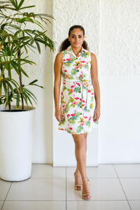 Kate dress in tropical print - Malia Clothing Fiji - Made in Fiji