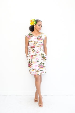 Kessa dress in tropical hawaiian island print - Malia Clothing Fiji - Made in Fiji
