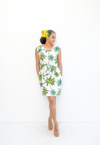 Kessa dress in tropical palm print - Malia Clothing Fiji - Made in Fiji