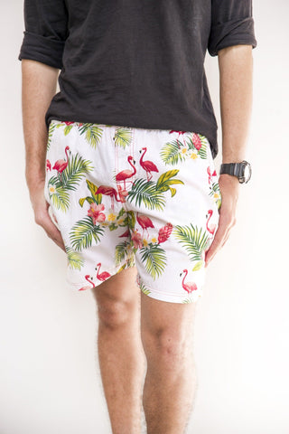 Mens Shorts in tropical flamingo print - Malia Clothing Fiji - Made in Fiji