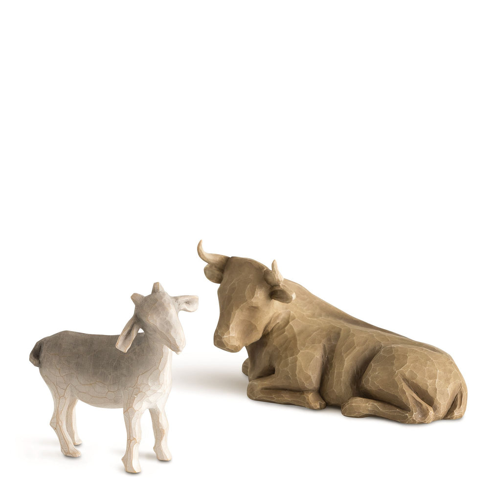 Ox and Goat Figurines by Willow Tree